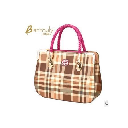 欧美大牌格子包包亮面漆皮女士包包时尚手提女包包邮