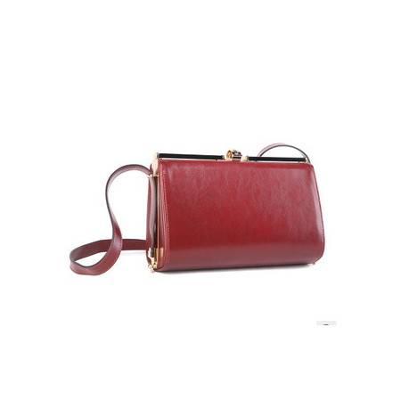 欧美时尚单肩斜挎铁夹包牛皮酒红色 新款夹子晚宴气质女包包邮