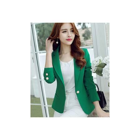 秋冬新款女士韩版小西装修身长袖纯色外套永飞