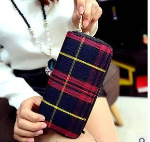 多卡位女士手拿包季时尚休闲帆布格子长款钱夹征途