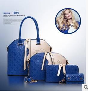 单肩斜跨高档手提包包夏季新款菱形美女图案子母四件套女包征途
