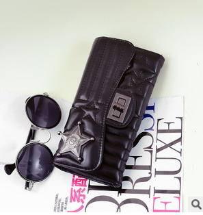 多卡位零钱包女士手拿包韩版时尚新款五星锁扣3三折长款钱夹征途