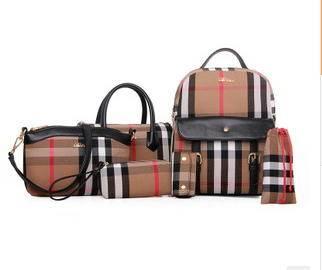 单肩斜挎高档手提多用包包欧美时尚爆款简约格子六件套女包 征途包邮