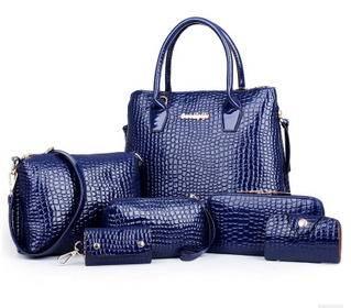 单肩斜挎女士手提女包买一送六爆款欧美时尚鳄鱼纹子母包征途