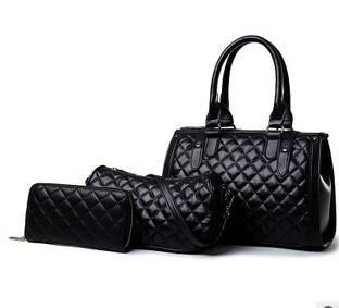手提单肩斜挎高档女包2015欧美时尚新款菱格绣线子母包三件套征途包邮