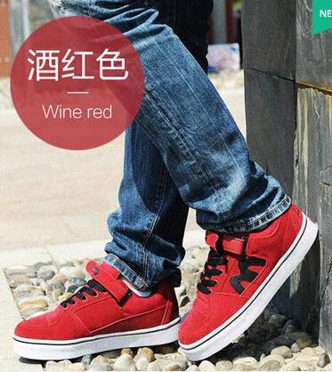 秋季学生运动板鞋男士休闲鞋英伦男鞋子潮男夏n字鞋反绒皮鞋真皮