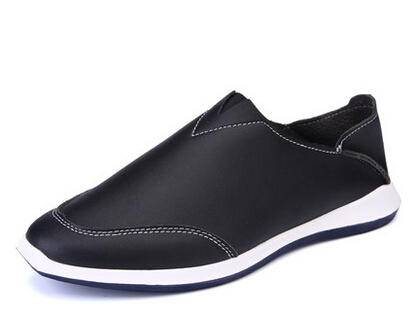 夏季休闲皮鞋男英伦真皮男鞋套脚运动懒人鞋