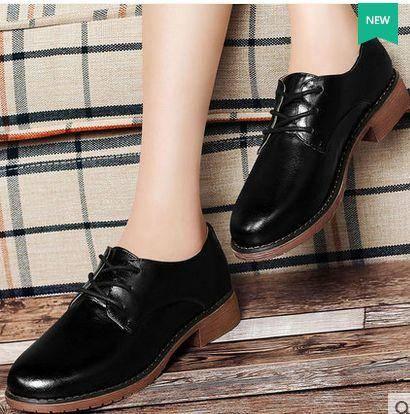 英伦复古布洛克鞋系带圆头平跟女鞋子单鞋女2015秋季新款包邮