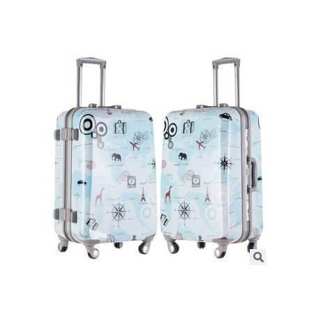 年新品 小清新韩国涂鸦铝框拉杆箱万向轮旅行箱硬箱20寸24寸右手方包邮
