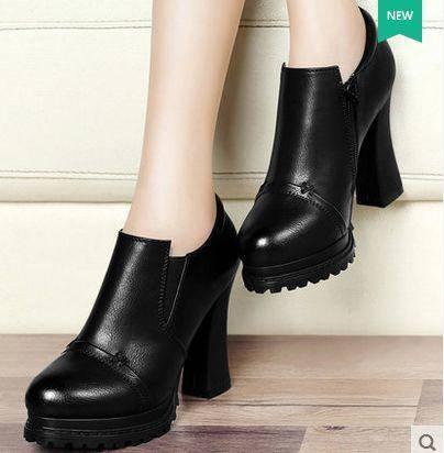 粗跟圆头深口欧美厚底防水台秋季新款女鞋高跟女单鞋包邮