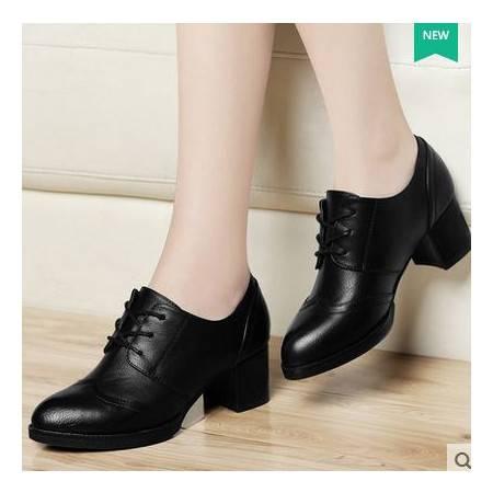 韩版深口工作鞋秋季新款粗跟高跟女单鞋圆头系带女鞋包邮