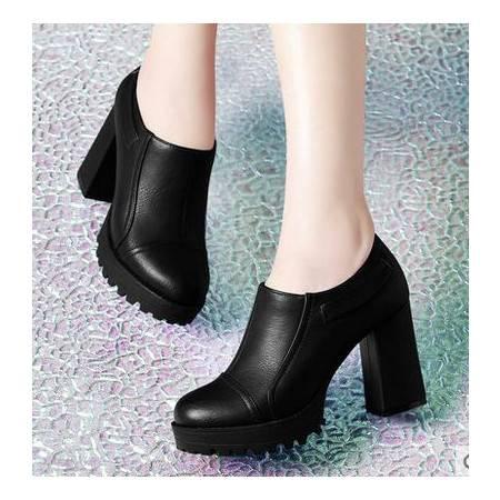 女高跟鞋厚底防水台休闲鞋秋季新款女鞋粗跟深口单鞋包邮