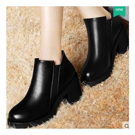 圆头英伦潮女鞋秋季新款女靴粗跟短靴马丁靴高跟裸靴包邮