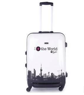 时尚黑白铁塔万向轮24寸拉杆箱旅行箱行李箱高端铝框箱右手方包邮