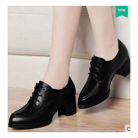 英伦粗跟防水台女鞋休闲鞋潮秋季新款尖头单鞋高跟鞋包邮