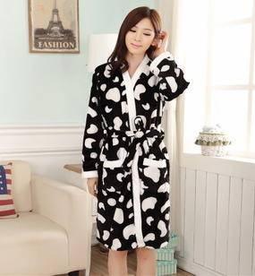 女宽松外穿两件套家居服新款奶牛女士开衫冬季保暖加厚法兰绒睡衣旭宏睡衣