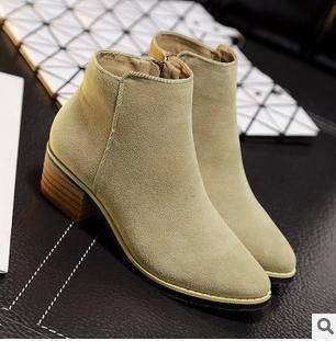 2015秋冬新款粗跟尖头绒面多色高跟侧拉链及裸马丁短靴欧美女鞋美高包邮