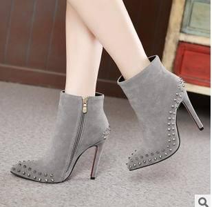 高跟鞋短靴鞋细跟尖头马丁靴柳钉鞋2015秋冬季外贸英伦风女靴美高包邮