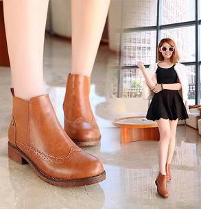 圆头平底时尚女靴拼接弹力布低跟粗跟短靴 女新款英伦风复古女鞋美高