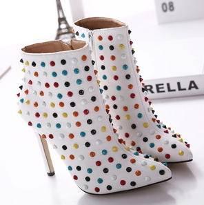 热卖新品铆钉及裸尖头高跟短靴子2015欧美明星同款秋冬女鞋美高包邮