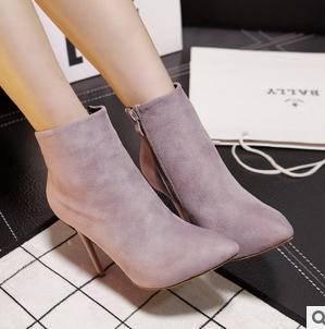 新品尖头细跟绒面侧拉链短靴高跟及裸靴女2015秋冬欧美女鞋 美高