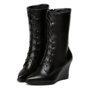 防水台时尚中筒马丁靴欧美秋冬女鞋2015新品系带尖头坡跟高跟靴子美高包邮