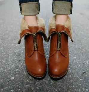 新品欧美时尚温暖毛里可翻边粗跟防水台高跟及裸短靴子秋冬女鞋 美高