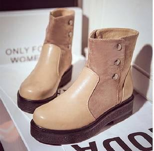 时尚拼接绒面金属铆钉圆头高跟马丁短靴子新品厚底粗跟女鞋欧洲站美高包邮