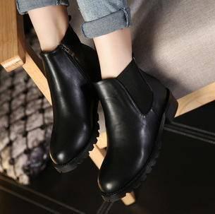 欧美圆头拼接弹力布侧拉链防水台马丁靴秋冬女鞋新款中跟时尚短靴美高包邮