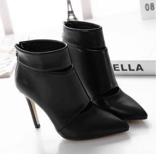 尖头镂空光面及裸短靴2015新款欧美女靴高跟女鞋 美高包邮