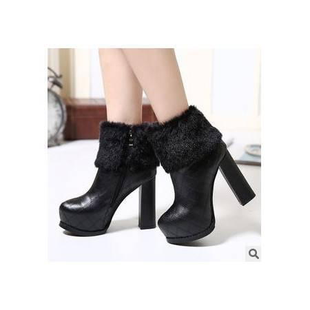 欧美新款秋冬防水台粗跟高跟裸靴短靴子翻边短绒车缝线性感女鞋 美高包邮
