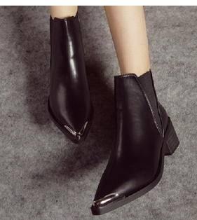 2015新品金属尖头拼接橡筋粗跟高跟及裸短靴复古欧美大牌女鞋美高包邮