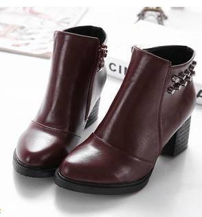 欧美性感圆头防水台粗跟高跟及裸马丁短靴子铆钉时尚女鞋秋冬新品美高