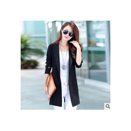 中长款修身显瘦外套秋新款毛衣女韩版长袖连帽针织开衫洪合包邮