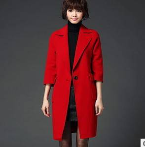 纯手工高档羊毛大衣风衣外套女款欧洲站秋冬新款双面呢大衣洪合包邮