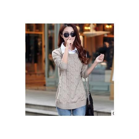 女秋季套头针织衫韩版秋装外套中长款假两件套拼接衬衣领毛衣洪合包邮