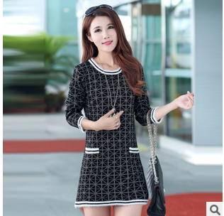 韩版大码针织毛衣女式外套秋冬新款女装圆领套头打底衫洪合包邮
