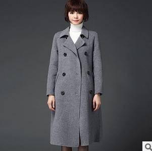 秋冬新款韩版修身纯手工羊毛大衣毛呢外套高端双面呢大衣女洪合包邮