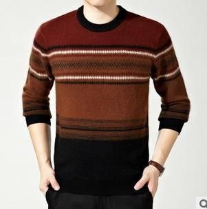 韩版圆领宽松条纹针织衫男式套头毛衣秋冬新款时尚貂绒衫永盛泰包邮