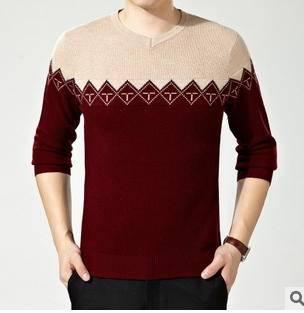男士打底上衣秋冬装新品针织羊绒衫韩版男式修身V领套头毛衣永盛泰包邮