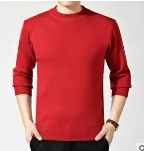 中年男式针织羊绒衫秋冬装新品商务高端圆领宽松纯色套头毛衣永盛泰