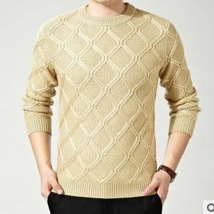 休闲男式合体型针织套头毛衣秋冬新款精品男装圆领纯色羊绒衫永盛泰包邮