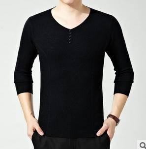 韩版男式修身针织V领套头毛衣秋冬装新品时尚潮流羊绒衫永盛泰