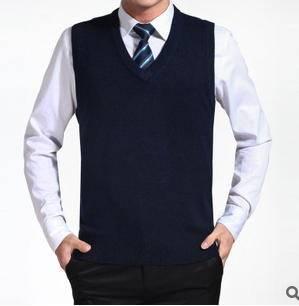 百搭纯色V领套头无袖毛线背心秋冬必备新品男式针织背心永盛泰