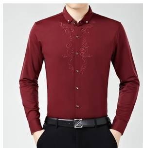 绣花纯色男式衬衫 男装棉衬寸衣15商务男士长袖衬衫永盛泰