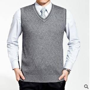 男士绅士潮流纯色提花V领精品羊绒针织背心时尚休闲气质男装 永盛泰