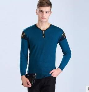 V领长袖男式套头线衫 韩版时尚男装拼色毛衣冬新款男士针织衫永盛泰