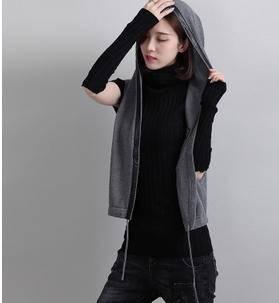 韩版连帽短款马甲外套秋季针织开衫女秀洲包邮