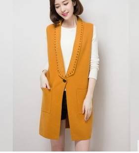 秋季新款时尚无袖貂绒大衣长款V领铆钉貂绒外套女秀洲包邮