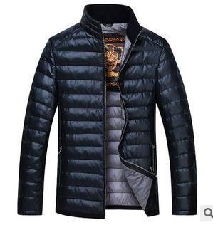 中年男士休闲立领保暖外套冬季新款男式羽绒服 尼奥包邮